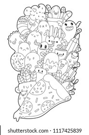 Cute cartoons in kawaii style. Coloring book anti-stress. 