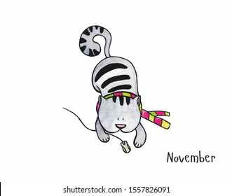 cute cat catches a computer mouse, drawn watercolor illustration. Monthly calendar with funny cats. The month of November, autumn