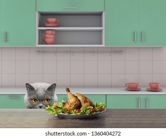 Cute cat is going to eat some chiken from the table. 3d rendering
