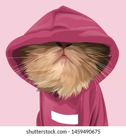 Cute cat with Hoodie pink