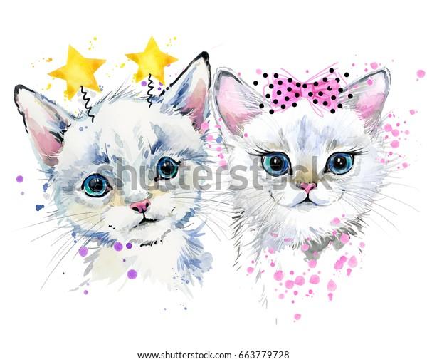 可愛い猫 子猫の水彩イラスト のイラスト素材 663779728