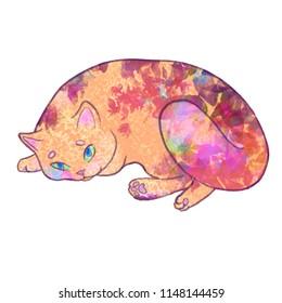 cute cat lies texture