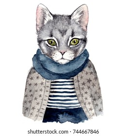 Cute cat . Watercolor hand drawn illustration
