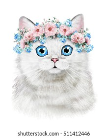Cute cat. Watercolor Cat illustration. T-shirt print. Greeting card. Poster Kitten. wreath of Flower. animal