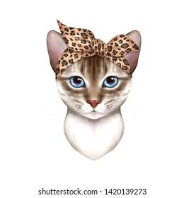 Cute cat wearing bandana Illustration isolated on white background