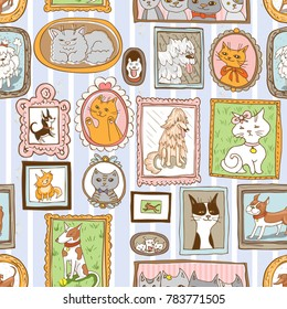 cute cats and dogs retro portraits seamless pattern. pets background