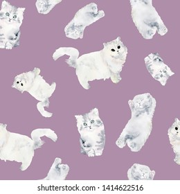Cute cats love watercolor illustration pattern