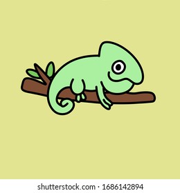 Cute chameleon sitting on a branch children's illustration