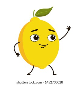 Cute character fruit lemon with leaf and stalk. Yellow fruit in cartoon style.