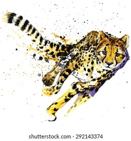 Cute cheetah. watercolor illustration. african animal. tropical wildlife. exotic nature.