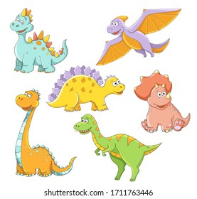 Cute childish cartoon colorful dinosaur dino blue green orange yellow pink coral girl boy funny isolated on white background