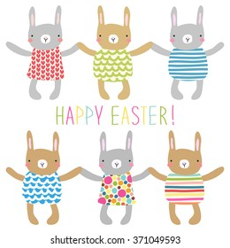 Cute childish Easter greeting card with different hand drawn bunnies holding hands and hand written text Happy Easter