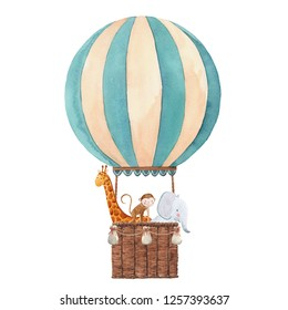Cute children watercolor illustration, striped balloon with animals, giraffe, monkey and elephant. greeting card