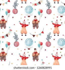 Cute children's watercolor circus pattern, clown with balls, juggler, elephant on a ball, balloon with basket, garland with flags and stars