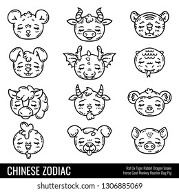 Cute chinese zodiac. Cute animals. Horoscope. Isolated objects on white background.