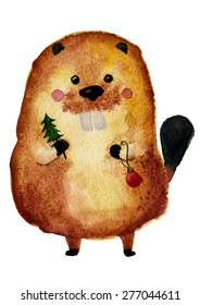 The cute christmas beaver