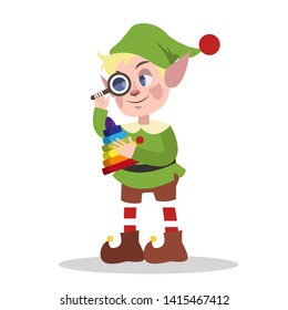 Cute christmas elf in green clothes making toy for xmas present. Checking pyramide. Holiday concept. Isolated flat  illustration