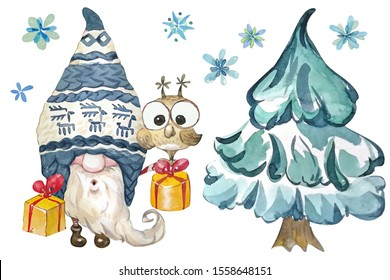 Cute Christmas Gnome with gifts and owl, falling snowflakes and Christmas tree . Watercolor clipart. Winter Holidays, Nordic, Scandinavian, gifts, xmas, postcard, dwarf, present, elf