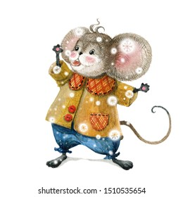 Cute Christmas mouse in a cartoon style catches snowflakes. Watercolor christmas illustration