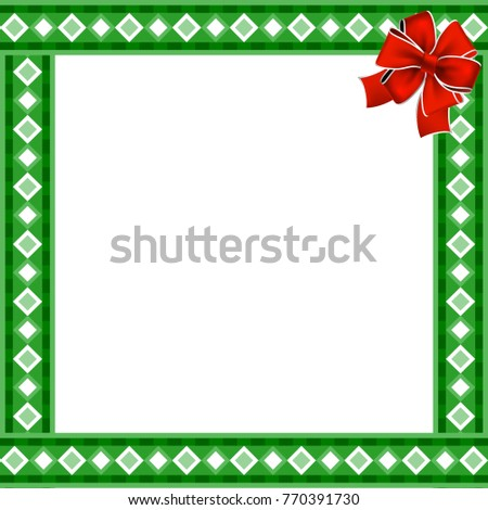 cute christmas or new year border with rhombus pattern on green background illustration frame