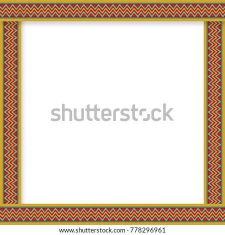 cute christmas or new year border with zig zag pattern on red background illustration