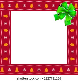 Cute Christmas or new year square border, photo frame with bells and snowflakes pattern and green festive ribbon isolated on white background. illustration, photoframe, template with copy space.