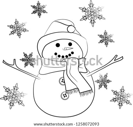 Cute Christmas Snowman Coloring Pages Stock Illustration Royalty
