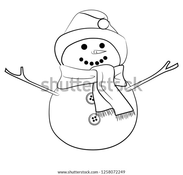 Cute Christmas Snowman Coloring Pages Stock Illustration 1258072249