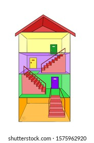 A cute, colorful 3-story building with an inside look