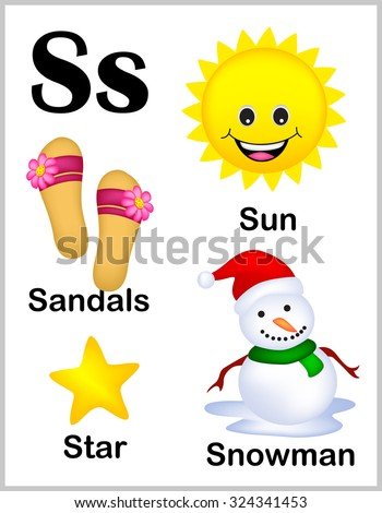 Cute Colorful Alphabet Letter S Set Stock Illustration 324341453