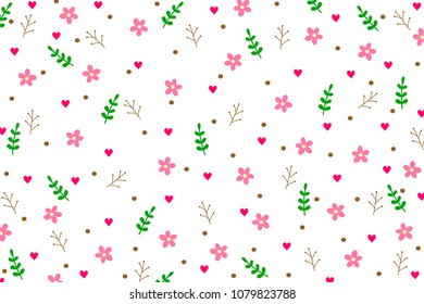 Cute colorful botanicals and heart shape pattern on white background in abstract concept by doodle art hand drawing illustration can use for wallpaper, kids clothes pattern or other design.