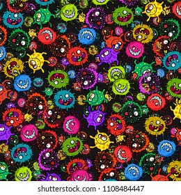 Cute and colorful doodle germ background surface pattern.