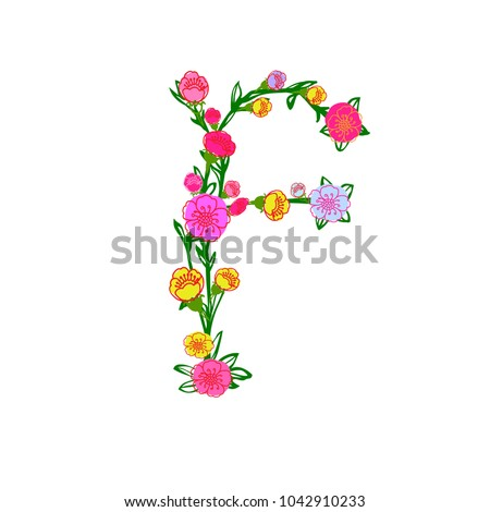 Cute Colorful Floral Alphabet - Letter F Design Isolated on White  Background for Postcard 442e098ba6dd