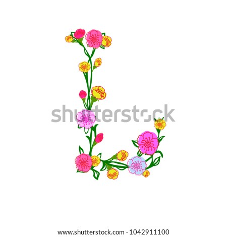 cute colorful floral alphabet letter l design isolated on white background for postcard stationeries