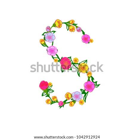 Cute Colorful Floral Alphabet Letter S Stock Illustration 1042912924