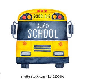 """Cute colorful school bus watercolour illustration with phrase """"Back to School"""" on black window. Hand drawn water color painting on white, isolated clip art element for design, flyers and decoration."""