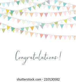 cute congratulations background bunting flag banners stock