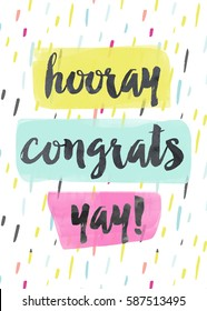 Cute Congratulations Card with Hooray, Congrats, Yay Text. Perfect for Graduation.