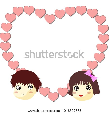 Cute Couple Heart Shaped Frame Stock Illustration 1018327573 ...