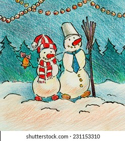 Cute couple of snowmen with broomstick and christmas bell happy new year illustration painting hand drawn sketch pencil art pastel poster paper print watercolor oil