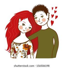 Cute couple - vector