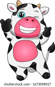 cute cow cartoon thumb up on white background