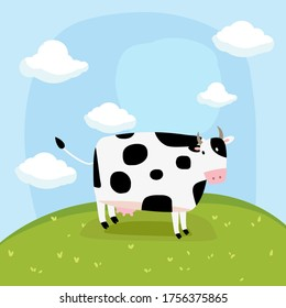 Cute cow on the green grassland.