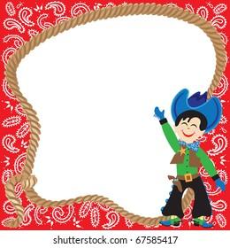 Cute Cowboy Birthday Party Invitation with lasso and bandana border