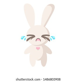 cute crying rabbit on a white background