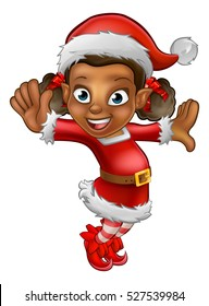 A cute dancing cartoon Christmas elf in a Santa hat and outfit