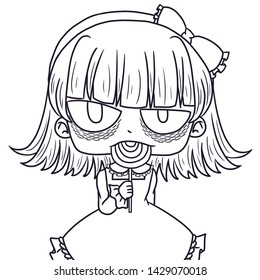 A cute dark girl eating a lollipop