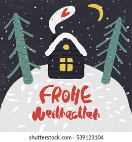 Cute Decorative greeting card with house and trees on the hill. Trendy childish style xmas poster. Colorful textured  illustration with handwritten lettering. Merry Christmas in deutsch