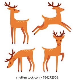 Cute deer with antlers illustration set. Standing, jumping and grazing. Cartoon style drawing.