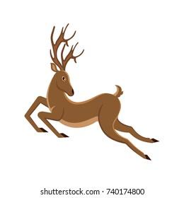 Cute Deer Cartoon Running. Reindeer Moving. Leaping Stag